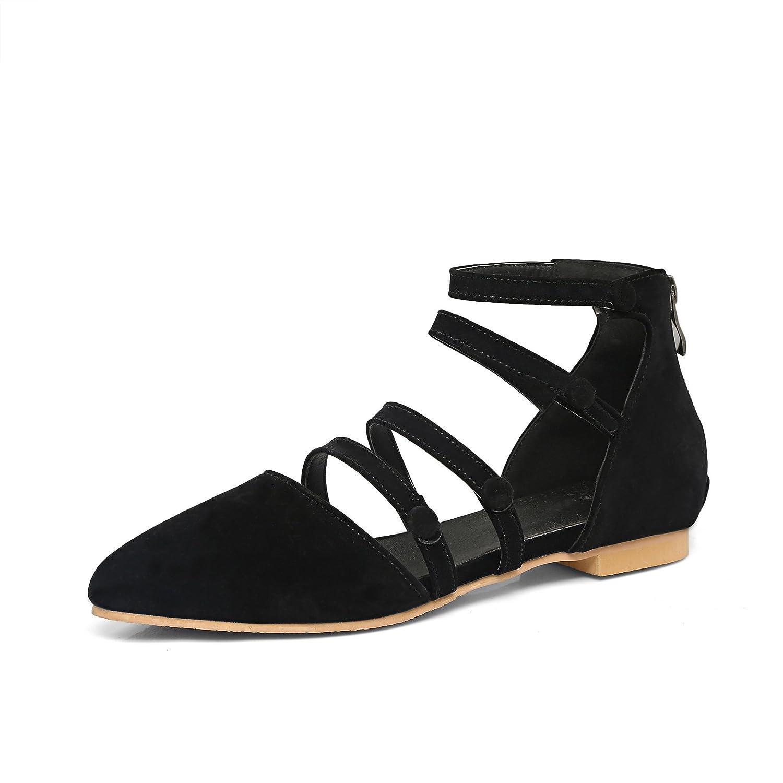 Damen Sommer Sandalen Sandalen Sandalen Mode Wies Taste Dekoration Wildleder Dicke Ferse Reißverschluss Hinten Niedrig - Verfolgte Schwarz 45 9eb207
