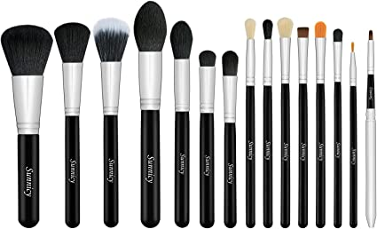 Juego de brochas de maquillaje profesionales (15 unidades), color negro y gris: Amazon.es: Belleza