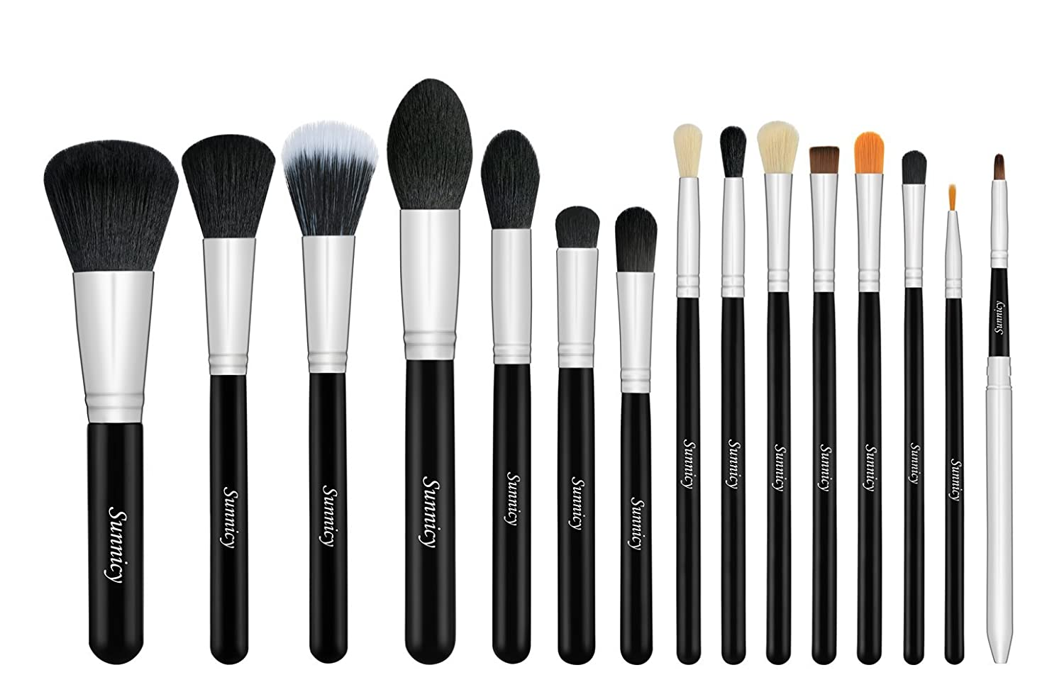 professional makeup brush set. professional makeup brush set - foundation concealer blending blush face powder eyebrow \u0026 eyeshadow cosmetics tool kit -15pcs black silver: