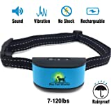 [2017 CHIP] Pro Pet Works RECHARGEABLE No Bark Dog Collar -NO SHOCK (NO POINTY PRONGS) Bark Control Training Collar For Small Medium And Large Dogs,  7-120 lbs