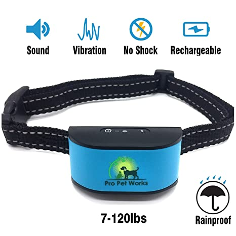 [2017 CHIP] Pro Pet Works RECHARGEABLE No Bark Dog Collar -NO SHOCK (NO  POINTY PRONGS) Bark Control Training Collar For Small Medium And Large  Dogs,