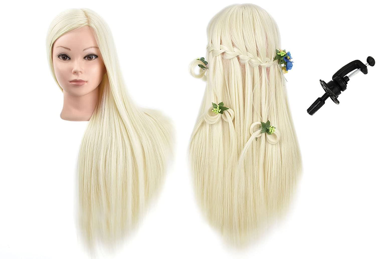 MMZ Mannequin Head, 28 Inches Long Synthetic Hair Training Head Cosmetology Doll Head with Free Table Clamp
