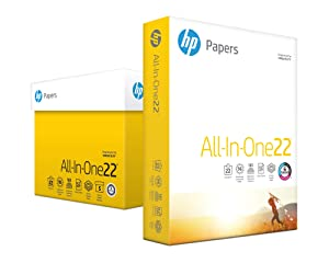 HP Printer Paper, All In One22, 8.5 x 11 Paper, Letter Size, 22lb Paper, 96 Bright, 2,500 Sheets / 5 Ream Carton (207000C) Acid Free Paper