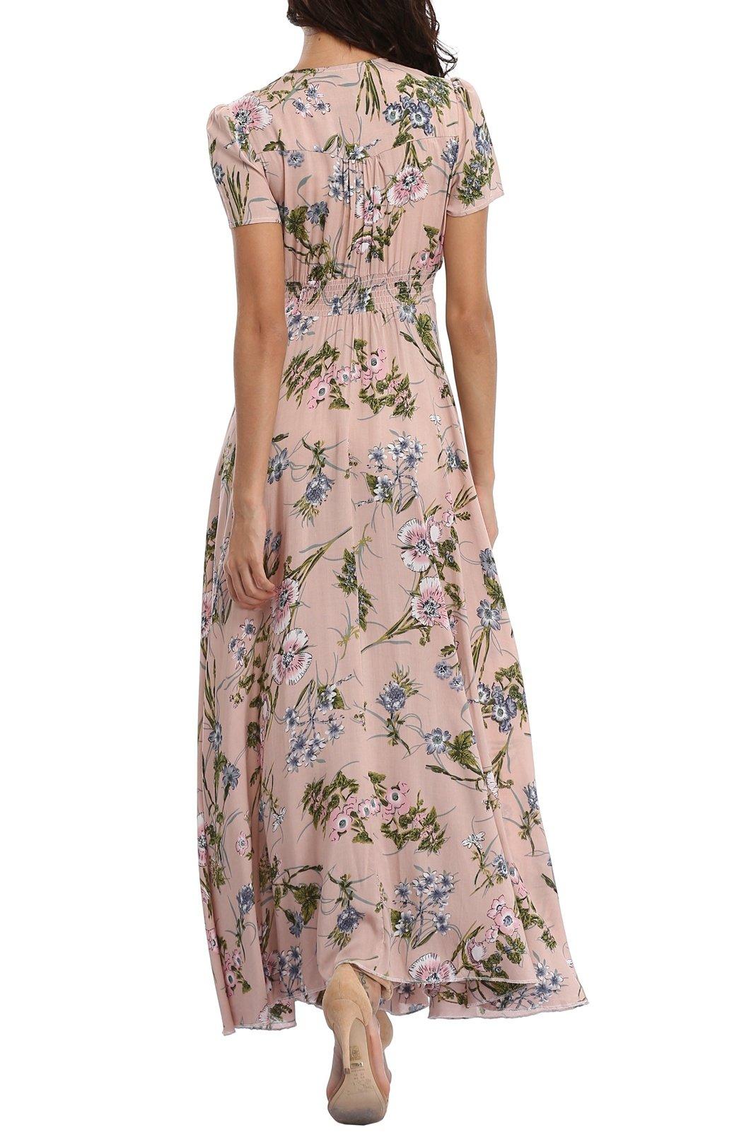 VintageClothing Women's Floral Print Maxi Dresses Boho Button Up Split Beach Party Dress,Pale Dogwood,Large by VintageClothing (Image #4)