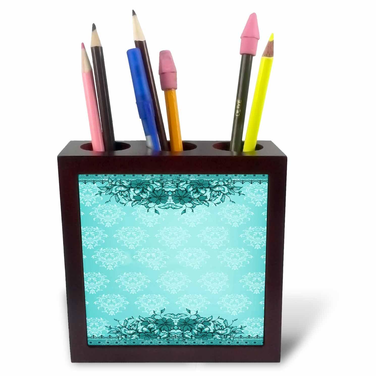 5-Inch 3dRose ph/_78320/_1 Pretty Tourquoise Vintage Flower and Damask Design Tile Pen Holder