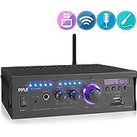 Pyle PCAU46BA - Amplificador inalámbrico Bluetooth para el hogar, 2 x 120 W, Sistema Receptor de Audio Bluetooth con visualización LED Azul, USB/SD, AUX, RCA, Conector para Auriculares