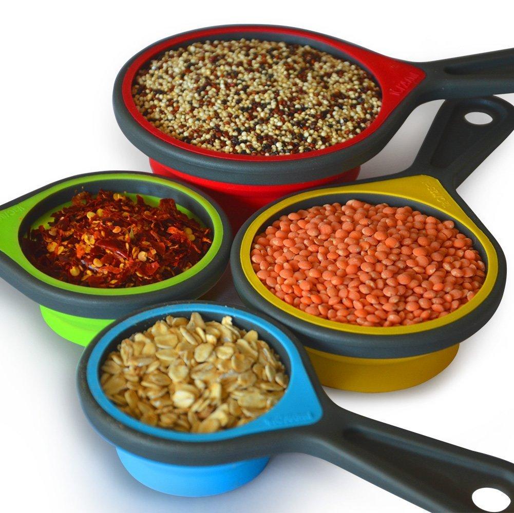 8pcs Collapsible Silicone Measuring Cups Measuring Spoons Perfect for Baking, Coffee, Supplements, Flour, Grains, Lentils, Spices, Honey, Liquids, Pet Food. (Purple Tsp)