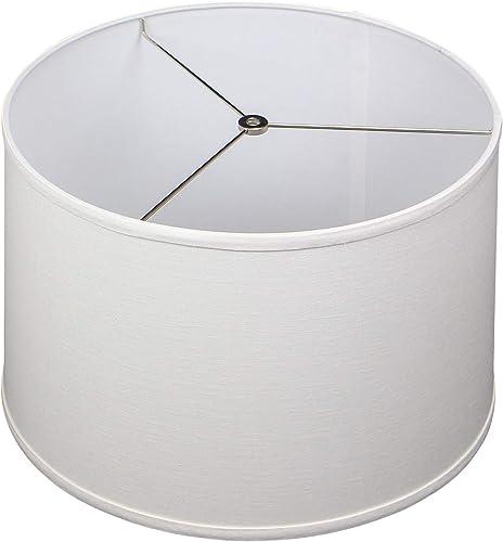 FenchelShades.com 16 Top Diameter x 17 Bottom Diameter x 11 Height Fabric Drum Lampshade Spider Attachment Designer Off White