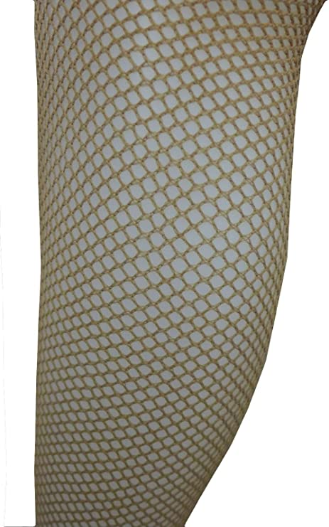 """NUDE TAN BROWN FISHNET TIGHTS LARGE /& XL up to 50/"""" HIP PLUS SIZE BURLESQUE"""