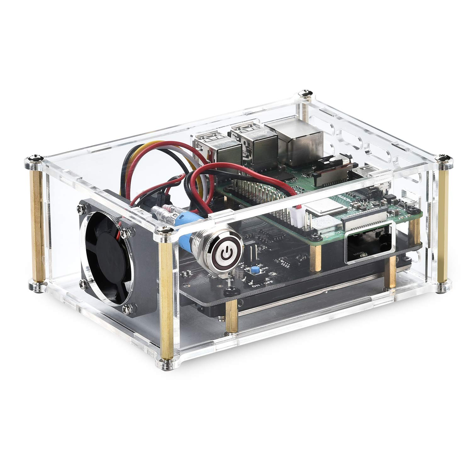 Acrylic Case with Cooling Fan for Raspberry Pi X820 V3.0 2.5'' SATA HDD/SSD Shield Expansion Board Kit