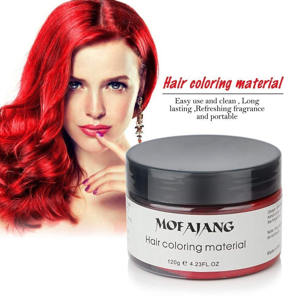 MOFAJANG Unisex Hair Color Dye Wax Styling Cream Mud, Natural Hairstyle Pomade, Temporary Hair Dye Wax for Party, Cosplay & Halloween, 4.23 oz (Red) MENFEISHI