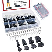 Hilitchi 520Pcs 2.5mm Pitch 2 3 4 5 Pin JST SM Male & Female Plug Housing and Male/Female Pin Header Crimp Terminals…
