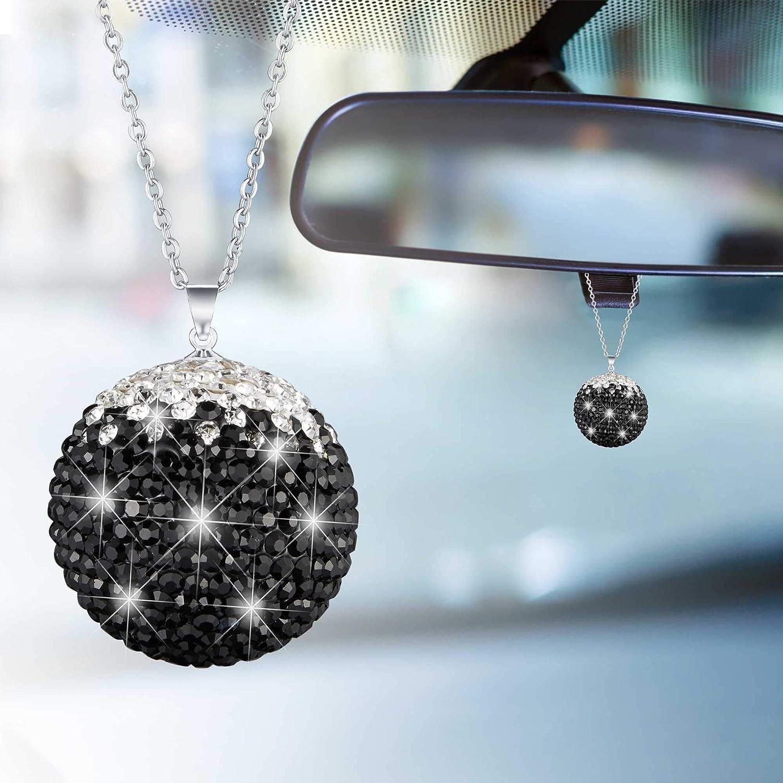 WINKA Car Decor Crystal Ball, Car Rear View Mirror Decoration, Rhinestone Hanging Ornament for Car Home Decor, Car Charm Decoration, Bling Car Accessories Black-white