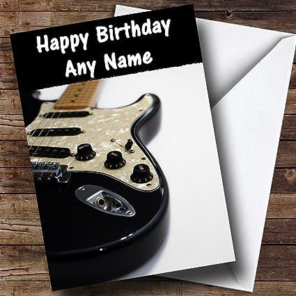 Guitarra eléctrica personalizado tarjeta de cumpleaños: Amazon.es ...