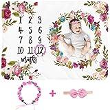 Baby Monthly Milestone Blanket Girl - Large 60''x40'' Floral Plush Fleece Photography Background Prop Newborn Soft Wrinkle-Fr