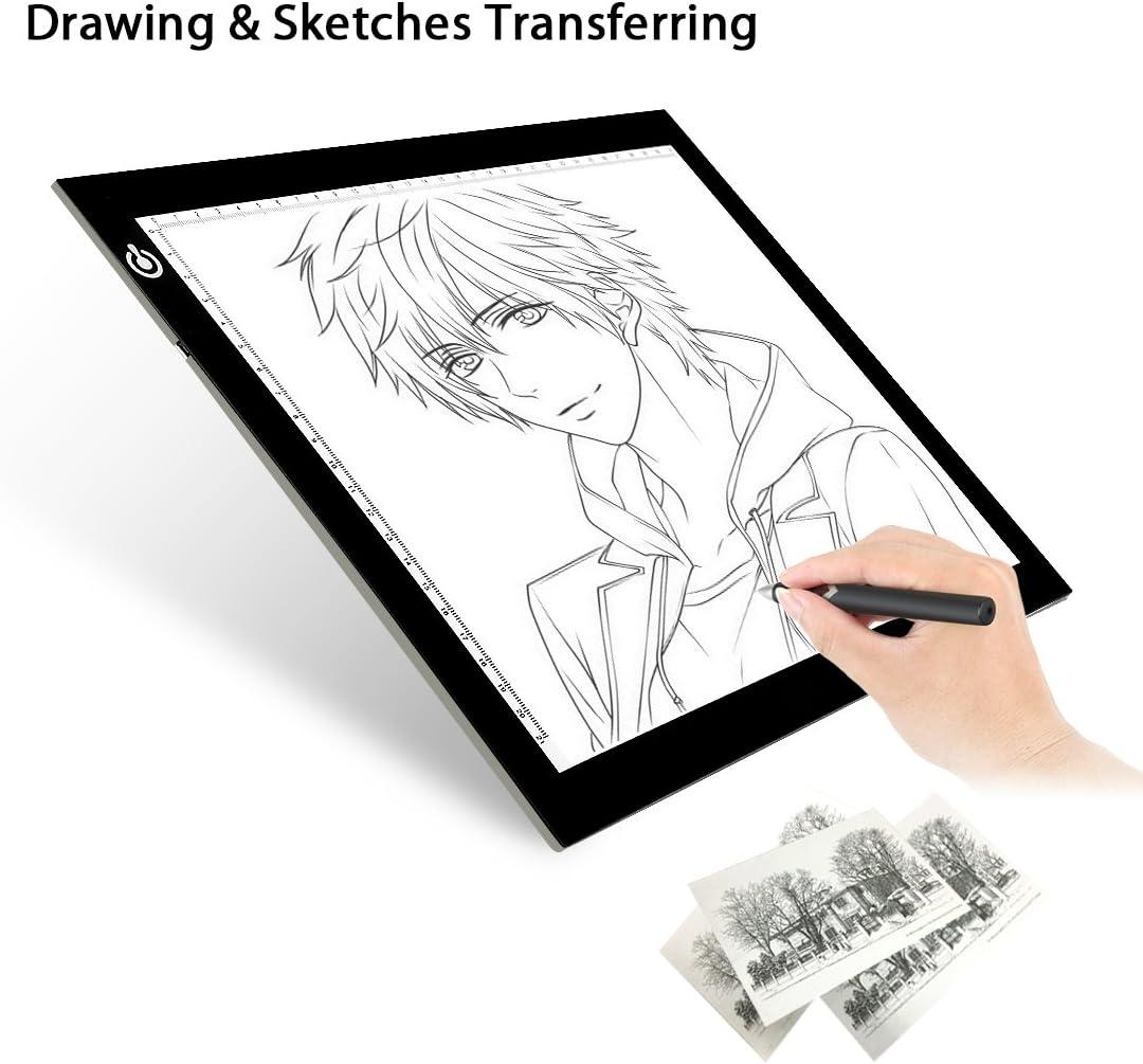 Animaci/ón con 2 Clips Linlang Caja de luz de imitaci/ón LED A4 Tableta de l/ámpara Que representa el Arte Tableta de Dibujo de Copia Ultrafina para Dibujar Tres velocidades