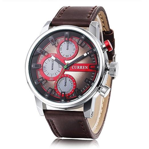 Hombre Relojes CURREN Marca de moda de lujo piel de cuarzo relojes de Brown 8170: Amazon.es: Relojes