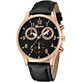 Men's Wrist Watch Men's Faux Chronograph Leather Strap Quartz Analog Wrist Watch Business Dress Watch