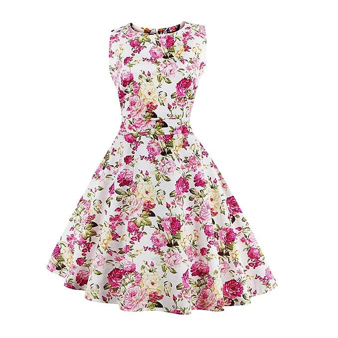 e4ecef0e3dc non-brand 4X-Large Daisy White Magideal Elegant Womens Fer Rose Daisy Midi  Dress