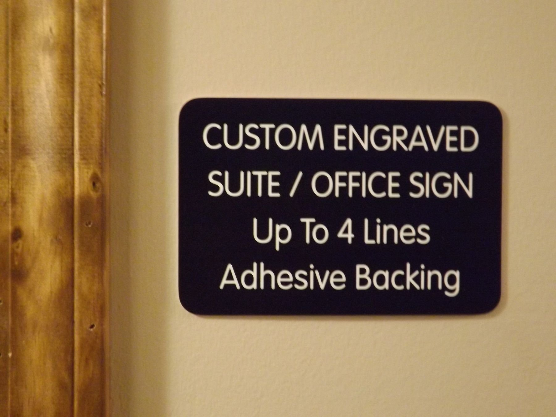 Custom Engraved 4x6 Black w/ White Lettering Door Suite Wall Sign | Name Plate | Personalized Wall Plaque | Business Doctor Law Firm Home Office Cafe Shop | Up to 4 Text Lines | Adhesive Backed by Jay Graphics (Image #3)