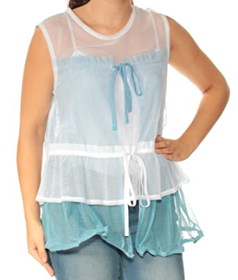 9dfbcba7b8 DKNY $398 Womens New 1739 Light Blue Sheer Sleeveless Top S B+B at Amazon  Women's Clothing store: