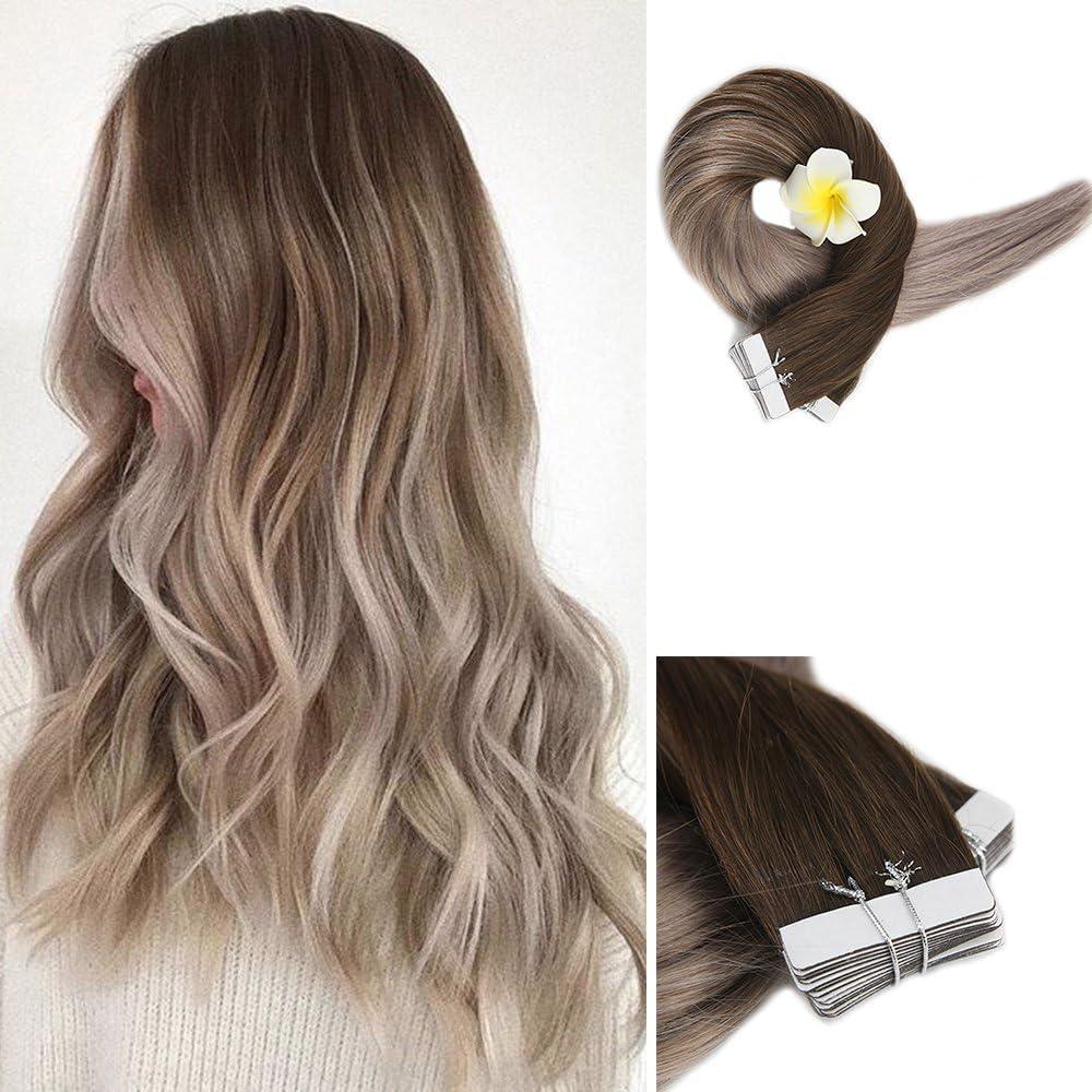 Full Shine 18 Pulgada 20 Piezas 50 Gramos Per Package Color 4 Desvanecimiento a 18 Tape in Hair Double Sided Tape Hair Extensiones Adhesivas Pelo ...
