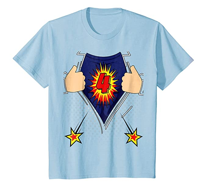 Kids Superhero Birthday Shirt For Boys Age 4 Baby Blue