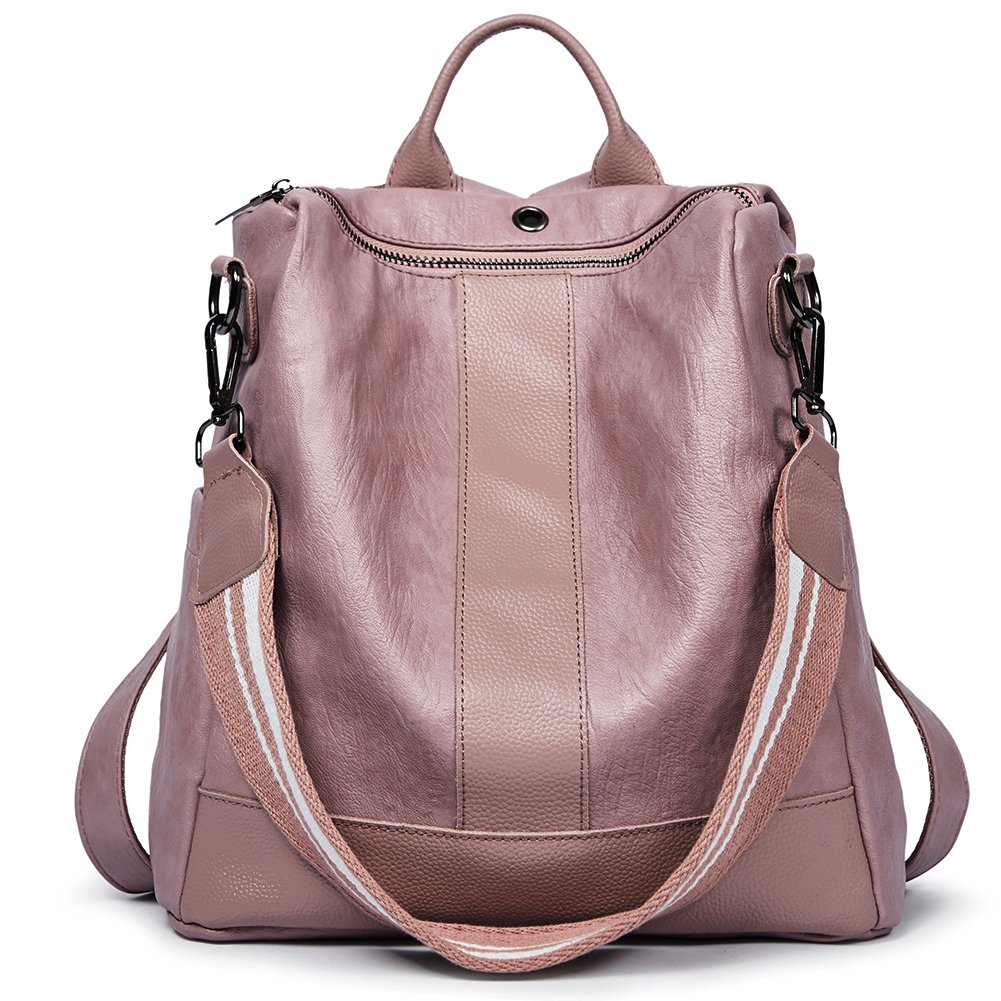 Women Backpack Purse PU Leather Covertible School Shoulder Bag Fashion Ladies Travel Bag pink