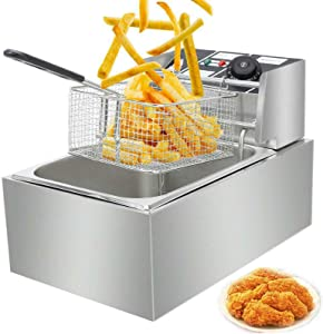 Electric Deep Fryer w/ Basket & Lid 2500W 6L, Countertop Kitchen Frying Machine,Commercial Steel French Fries Fryer in Restaurant or Family