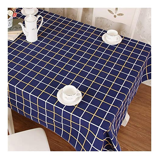 Mantel Plastico Mantel Lienzo Azul A Cuadros Simple Mantel Moderno ...