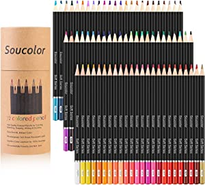 Soucolor 72-Color Colored Pencils, Soft Core, Art Coloring Drawing Pencils for Adult Coloring Book, Sketch,Crafting Projects (72-Colors)