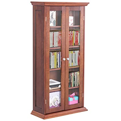 Amazon 445 Wood Media Storage Cabinet Cd Dvd Shelves Tower