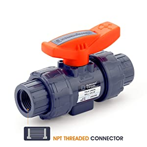 """HYDROSEAL Kaplan 1/2"""" PVC True Union Ball Valve Threaded (NPT) with Full Port, ASTM F1970, EPDM O-Rings and Reversible PTFE Seats (1/2'')"""