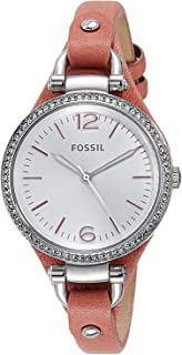 Fossil Womens ES3468 Georgia Analog Display Analog Quartz Pink Watch