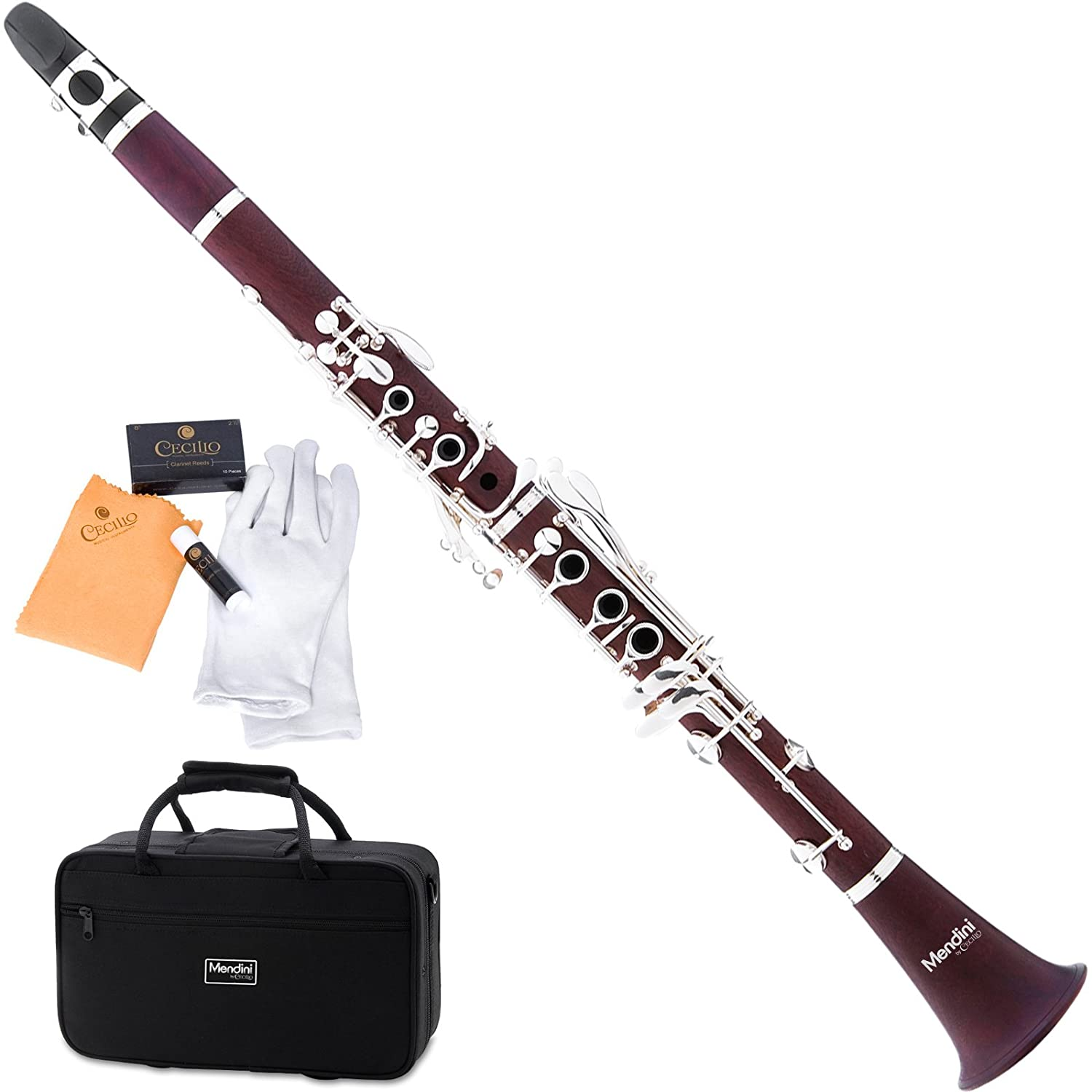 Mendini MCT-30 Intermediate Solid Rosewood B Flat Clarinet Cecilio Musical Instruments