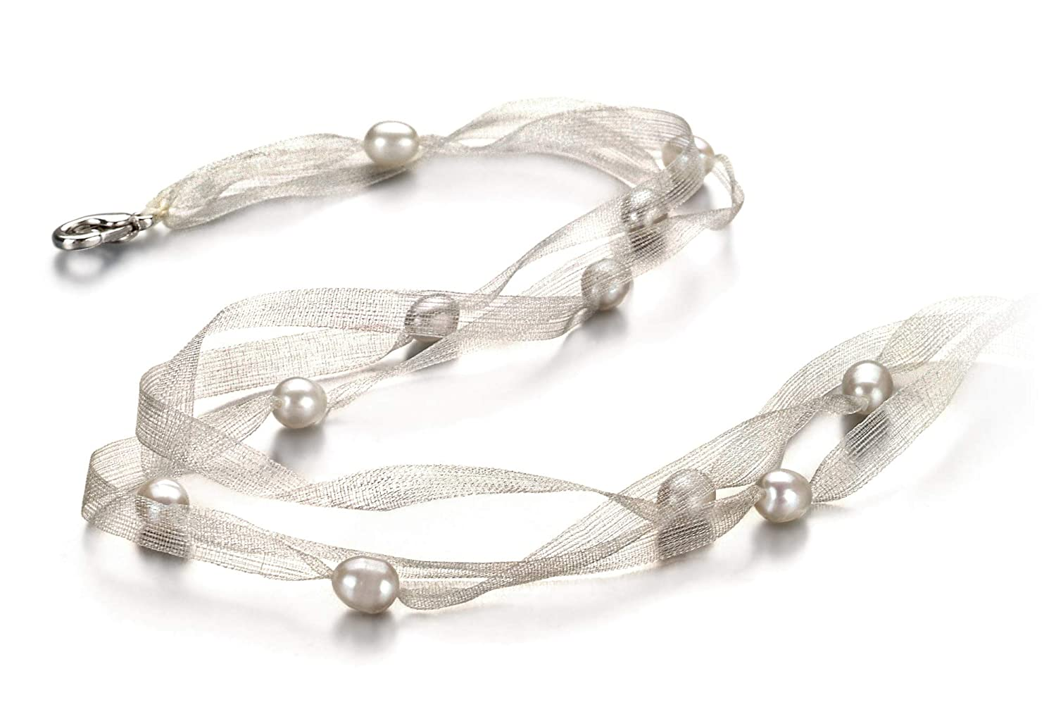 Jasmine White 5-6mm A Quality Freshwater Cultured Pearl Necklace for Women-18 in Princess Length