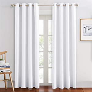 PONY DANCE Grommet Curtains Set - Window Treatments Thermal Insulated Elegant Curtain Panels Window Coverings Draperies for Living Room, 55 Wide by 80 in Drop, Pure White, 2 Pieces