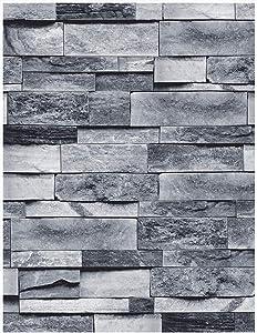 "MS magic 17.7""×118"" Vintage Gray Brick Wallpaper Self Adhesive Film Brick Peel and Stick Wallpaper Brick Faux Textured Wallpaper Stone Look Wallpaper"