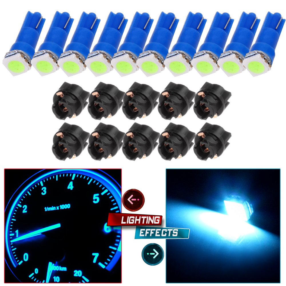 cciyu 10pcs T5 74 85 58 37 27 17 1-5050-SMD LED w/Black Twist Sockets Instrument Panel Dash Light Bulbs (blue)