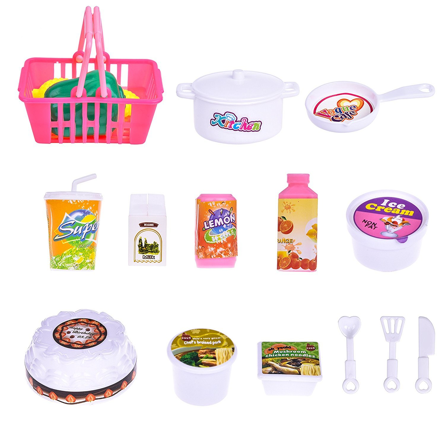 19 PCs Kitchen Appliance Toys with Kitchen, Refrigerator, Pot and Tableware, Pretend Play Set for Kids, Play Kitchen Appliance by FUN LITTLE TOYS (Image #6)