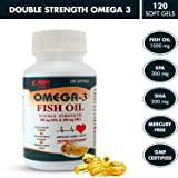 KERON Naturals Omega 3 Fish Oil Double Strength 1000 mg Dietary Supplement with 300 mg EPA + 200 mg DHA for Heart, Brain and Joint Wellness (120 Softgel Capsules)