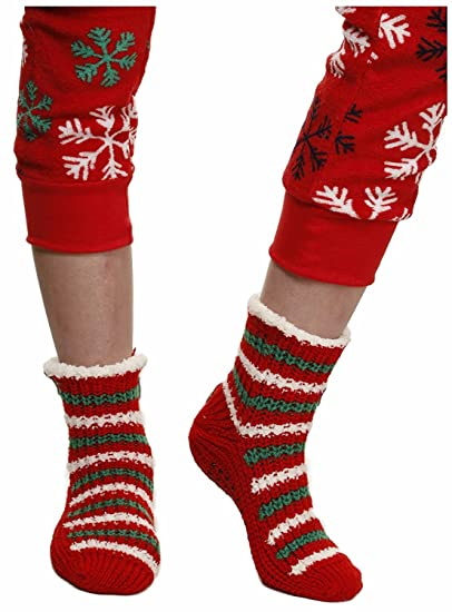 Amazon.com: Christmas Thick Knit Slipper Socks with Non-skid Soles ...