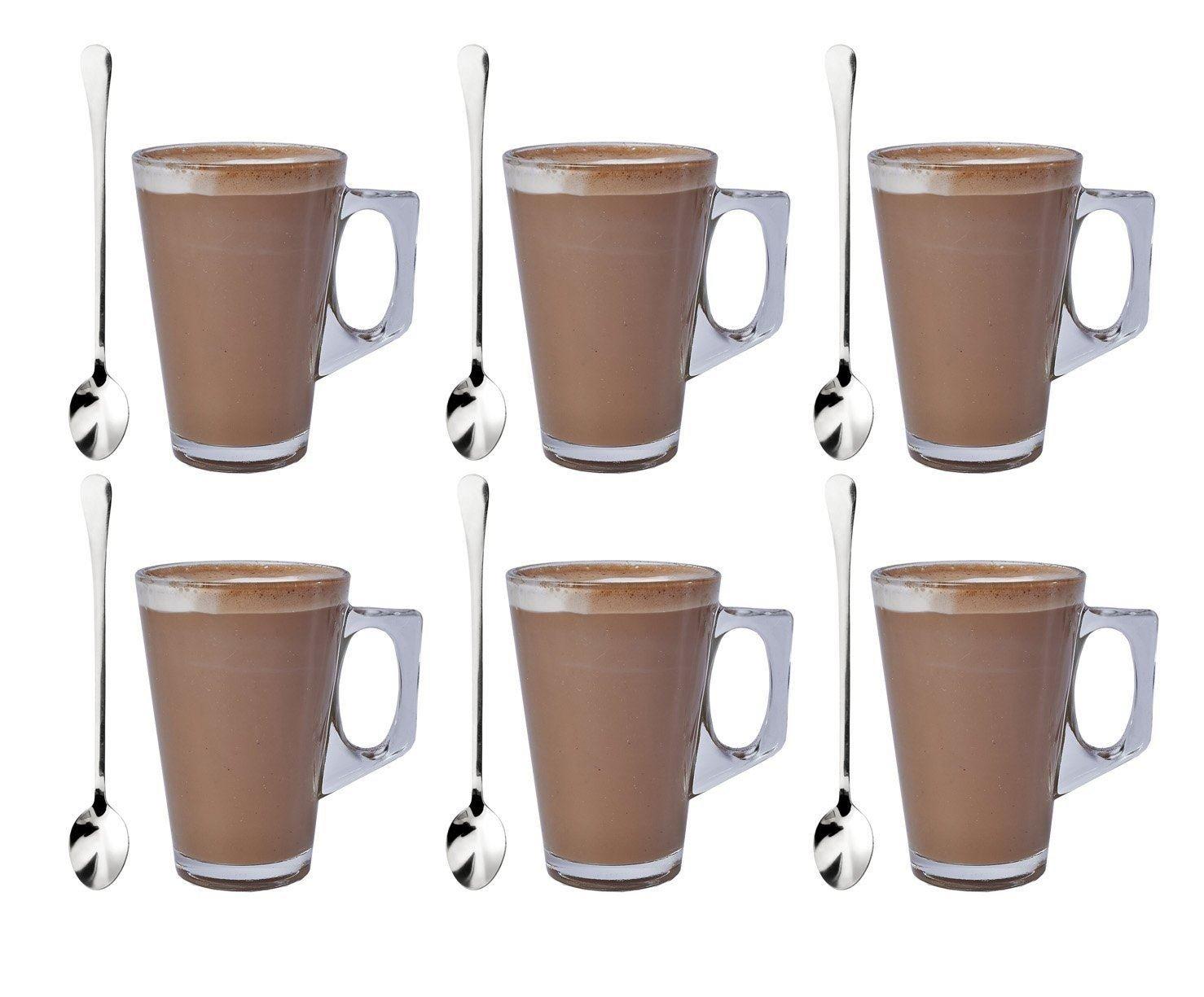 Set de 6 vasos de café de vidrio de 240ml con 6 cucharas