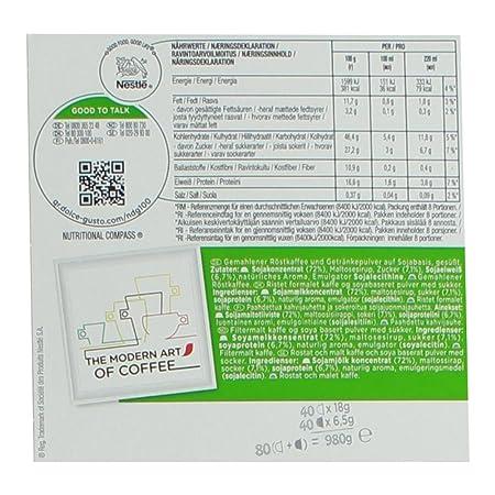 80 x Nescafé Dolce Gusto soja capuchino, Café con leche de soja, soy Leche, libre de lactosa, Café Cápsula, grande Paquete ventaja, paquete, 40 Raciones: ...