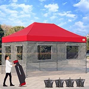 ABCCANOPY Food Vendor Tent 10x15 Food Vendor Booths Food Service Canopy (STD Burgundy)