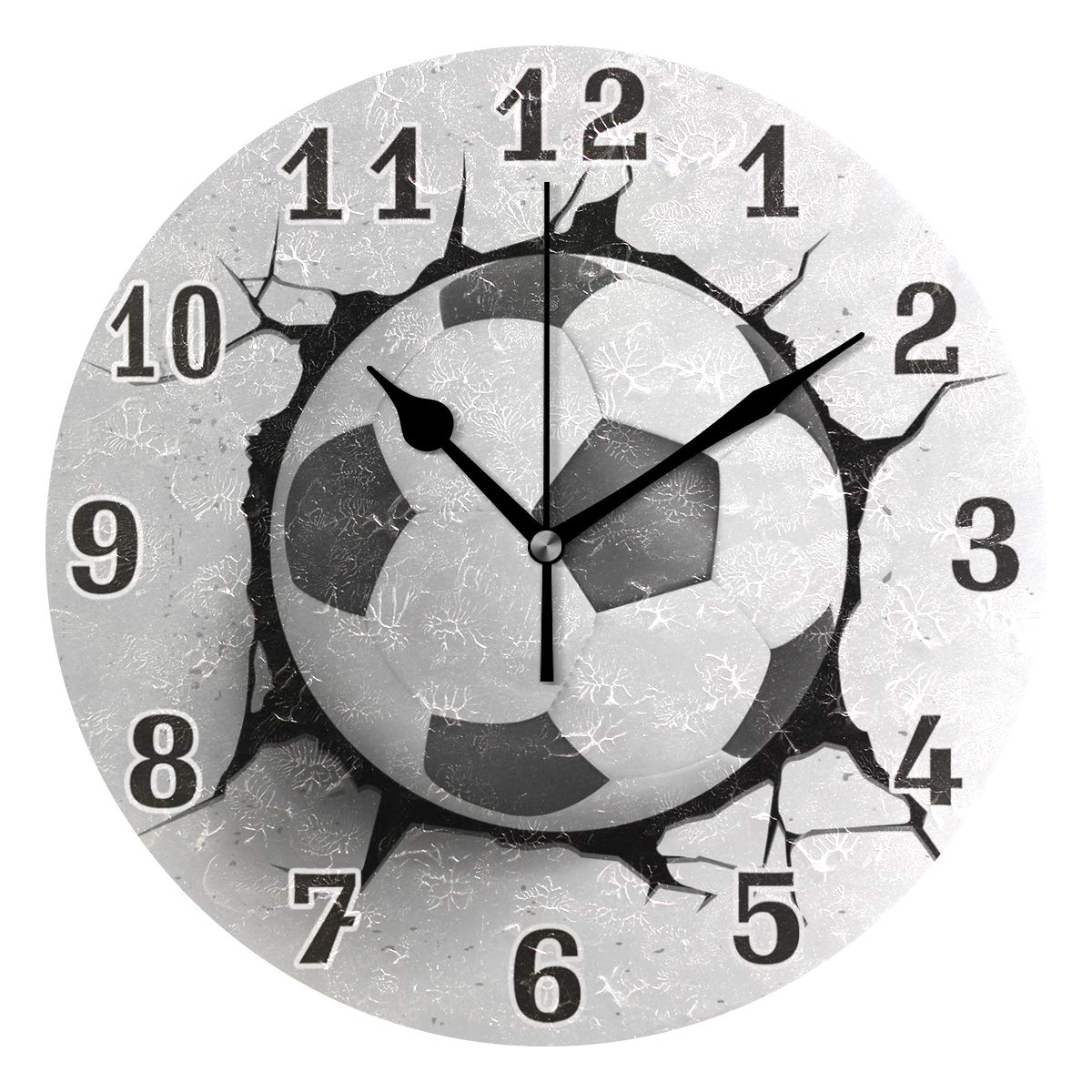 Soccer Ball Print Wall Clock