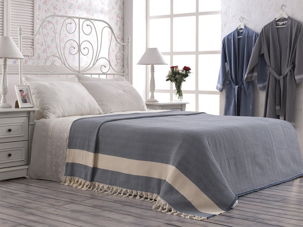 Accent Luxury NAVY Colour Pure Cotton Double Size Bedspread Throw 190cm x 220cm (74.8 inch x 86.6 inch) with Natural Band and Hand-knotted Tassels Cotton&Olive