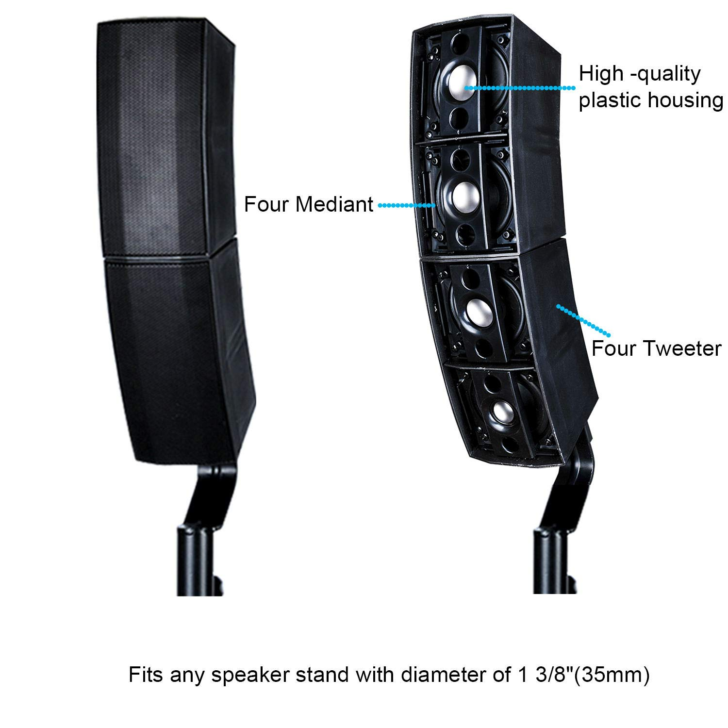 Reck Audio Club 3000 D 4X4 Passive Line Array Speaker System Sets with  Connecting Cables Eight Tweeter and Eight mid-tweeters, 8 Ohms Impedance