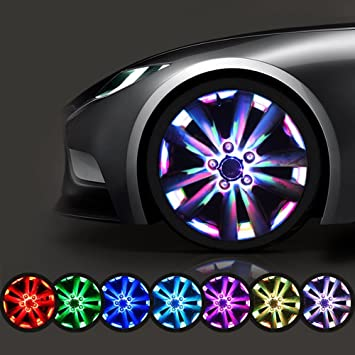 1 * Multi color resistente al agua luces LED para ruedas coche Auto Energía Solar Power