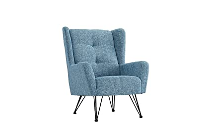 Merveilleux Mid Century Modern Linen Fabric Accent Armchair With Shelter Style Back  Rest (Light Blue